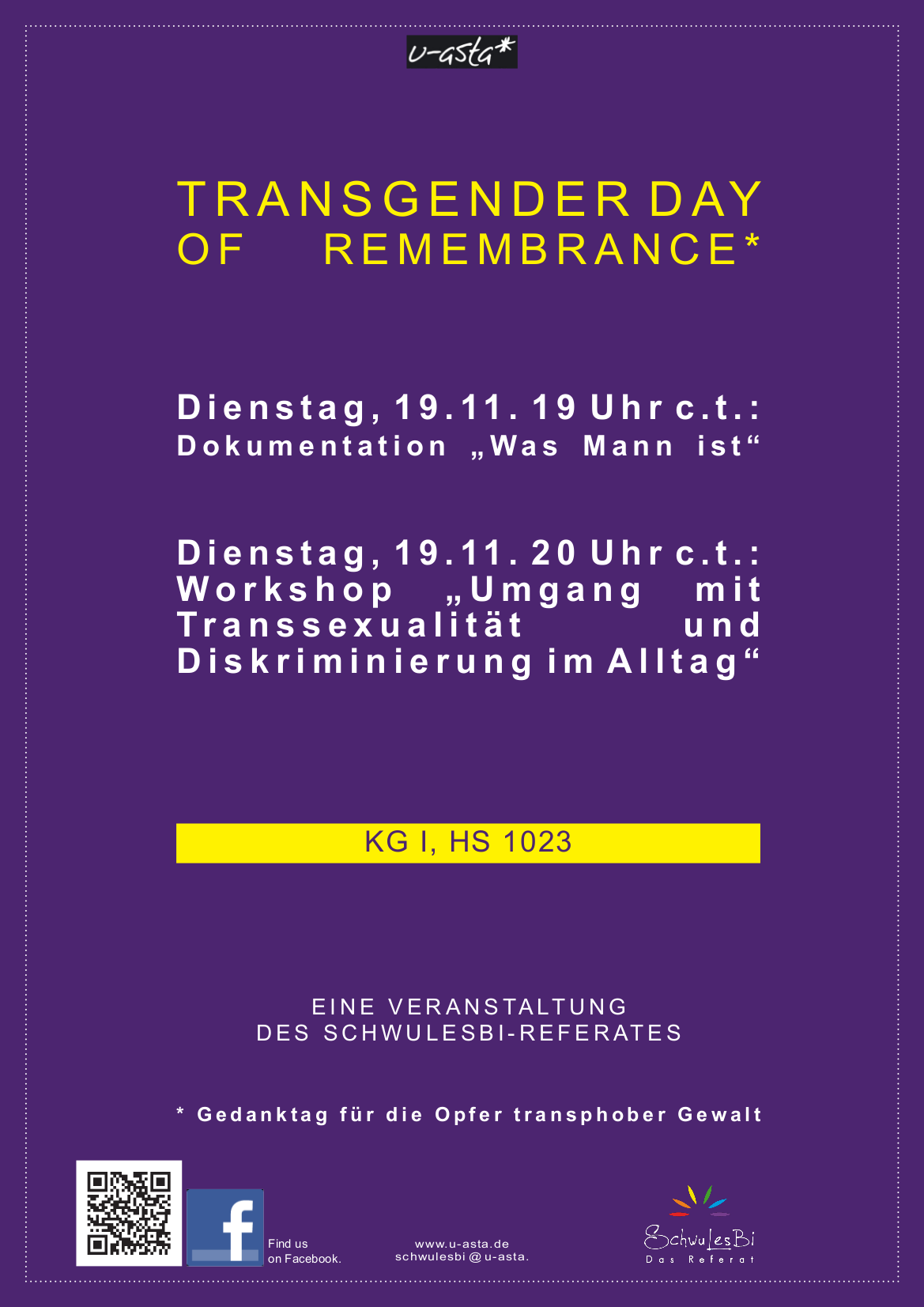 plakat des transgender day of remembrance